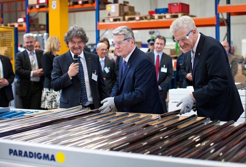 Bundespräsidenten Joachim Gauck und von Minsterpräsident Winfried Kretschmann bei der Ritter Energie
